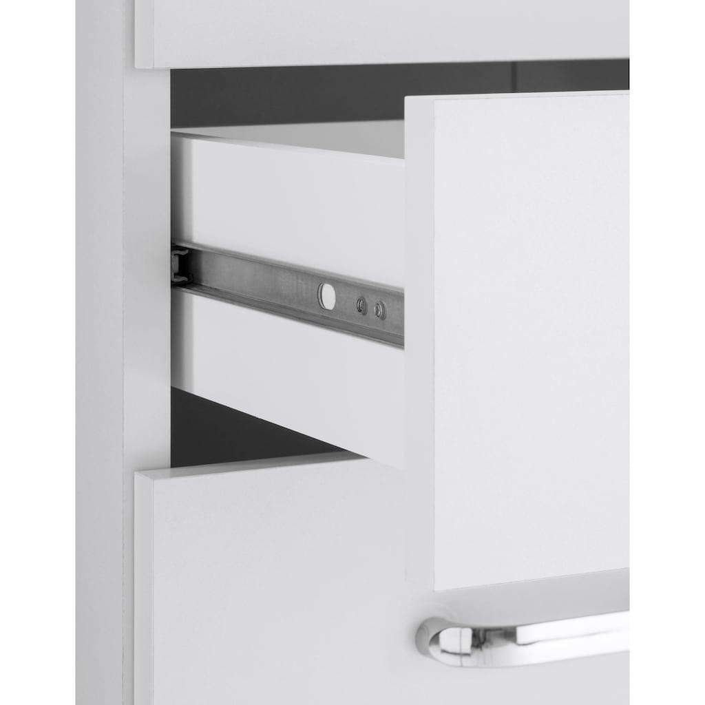 Schildmeyer Hochschrank »Colli«, Breite 60 cm, Badezimmerschrank mit Metallgriffen, Ablageböden hinter den Doppeltüren, praktischer Stauraum in 2 Schubladen und offenen Fächern