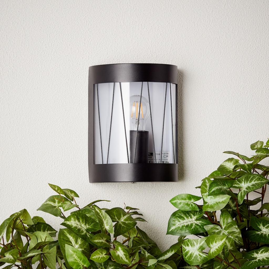 Brilliant Leuchten LED Außen-Wandleuchte, E27, Reed Außenwandleuchte schwarz matt