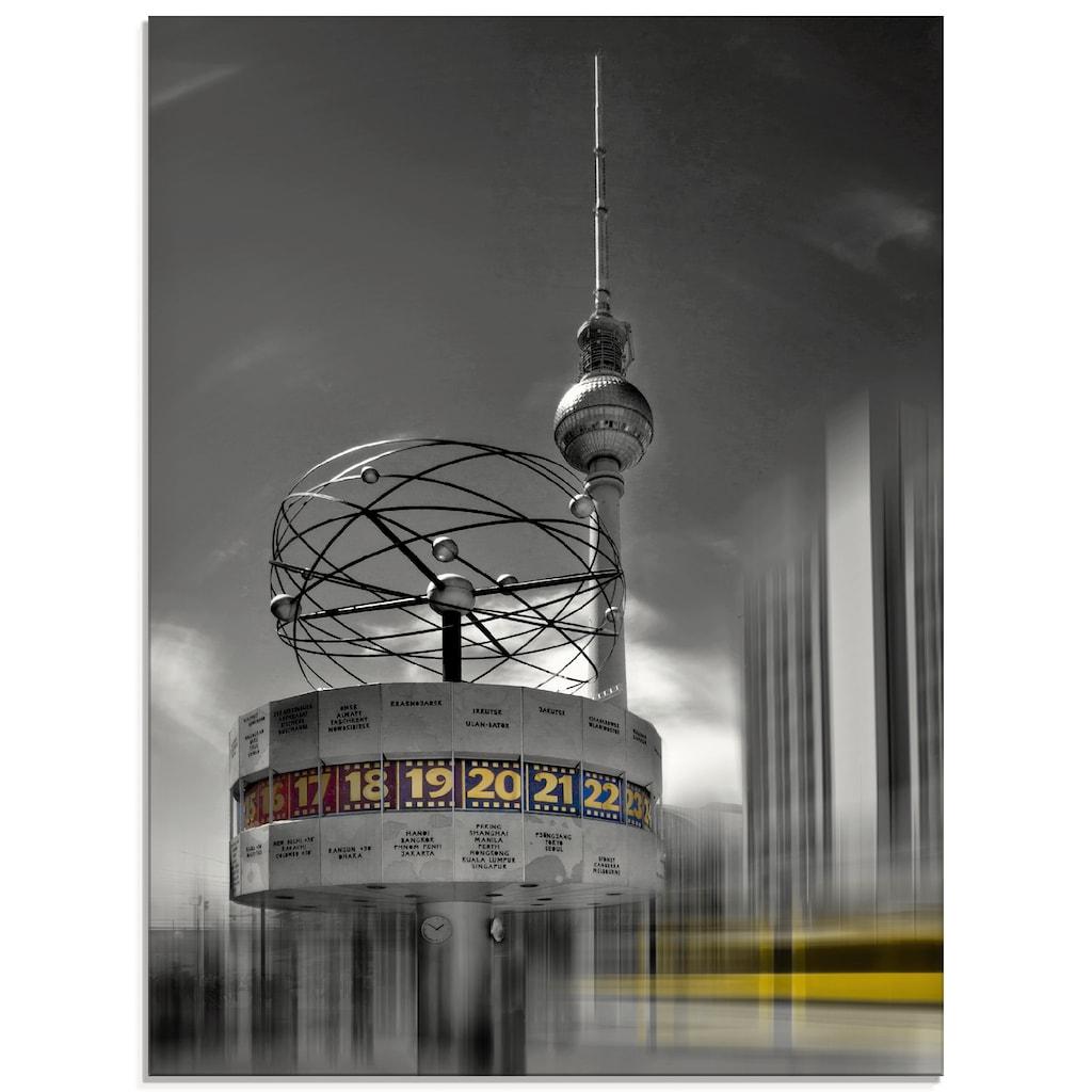 Artland Glasbild »Dynamische-Kunst Berlin Alexanderplatz«, Gebäude, (1 St.)