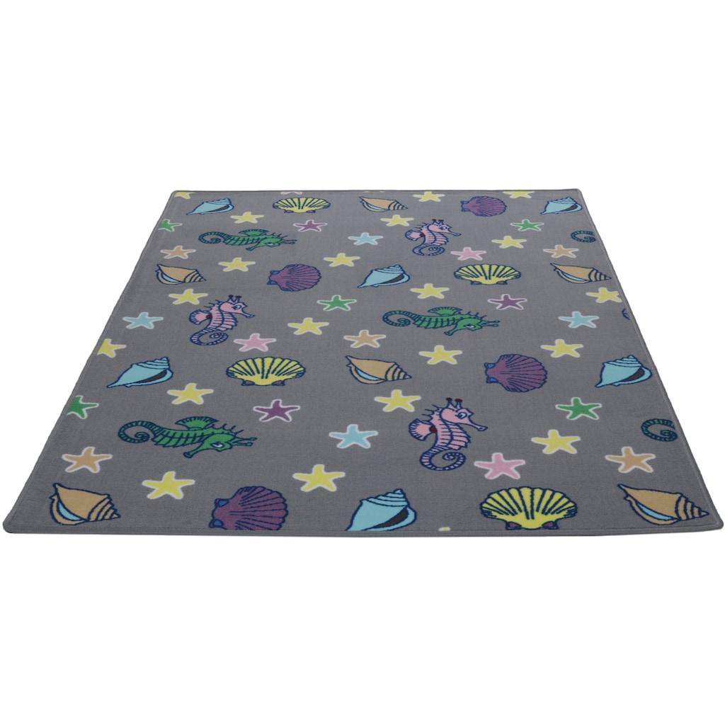 Living Line Kinderteppich »Meereswelt Muschel«, rechteckig, 7 mm Höhe, Velours, Motiv Meerestiere, Kinderzimmer