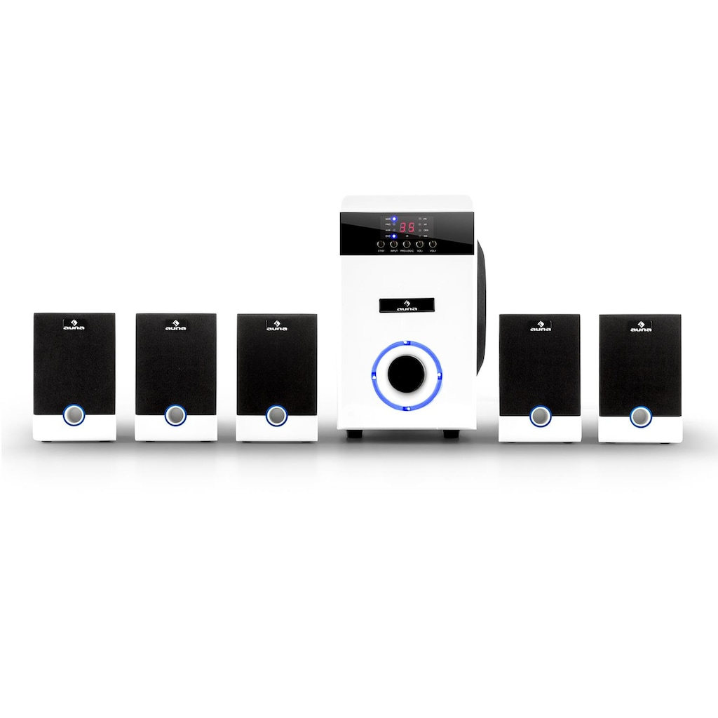 Auna aktives 5.1 Surround Lautsprecher Set 95W RMS Fernbedienung weiß
