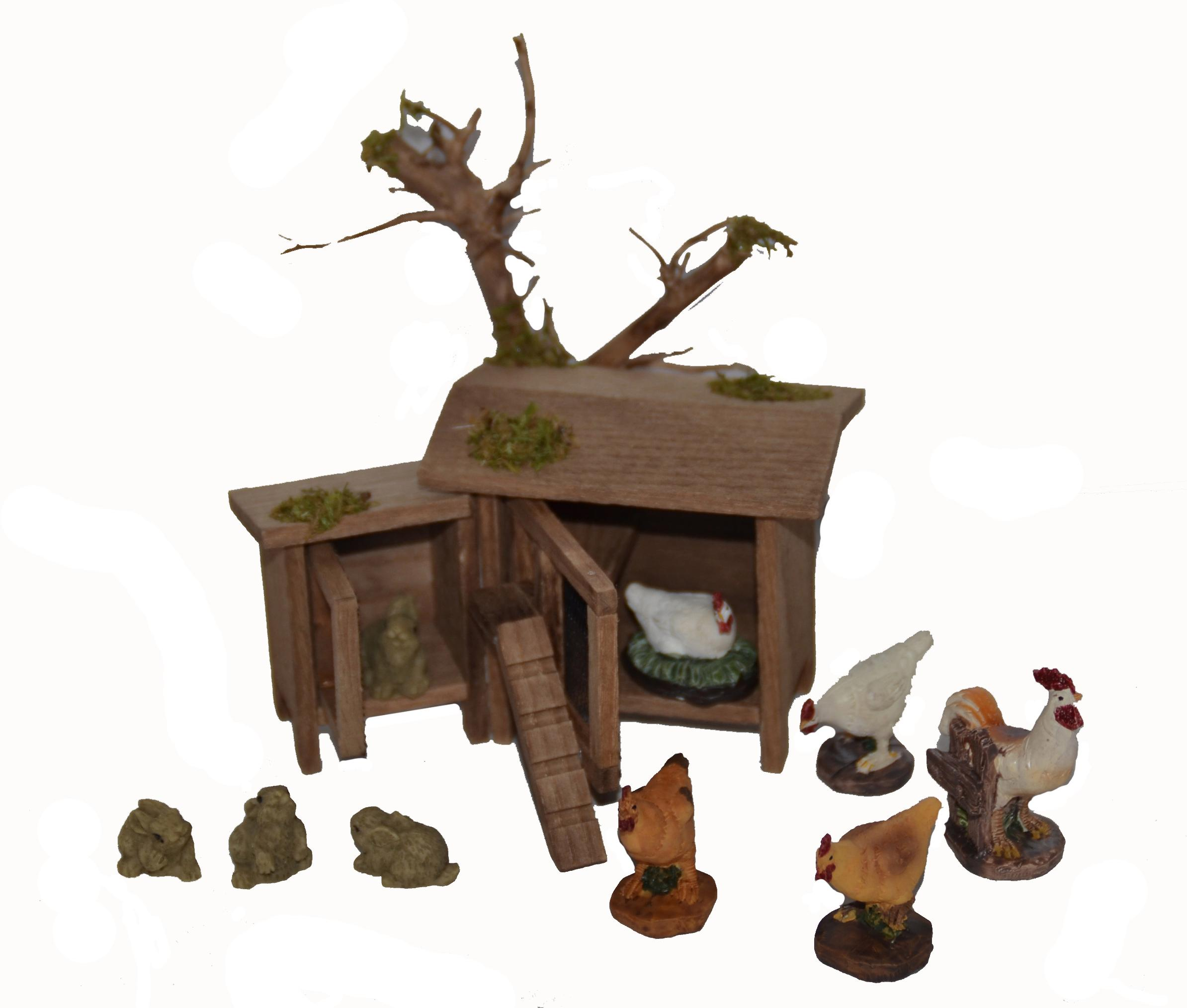 Weihnachtskrippen-Zubehör-Set, 10-teilig, »Hühner- mit Hasenstall inkl. Hühner und Hasen« | Garten > Tiermöbel > Hasenställe-Kaninchenställe | Braun | QUELLE