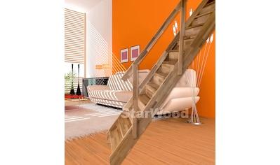 STARWOOD Raumspartreppe »Rhodos«, geschl. Stufen, gerade, Holzgeländer links kaufen