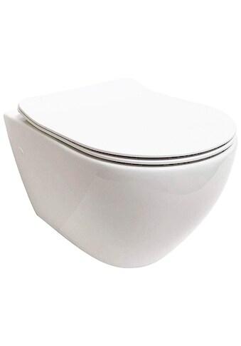 ADOB Komplett - Set: Wand - WC Spülrandlos, inkl. Slim - WC - Sitz und Schallschutzmatte kaufen