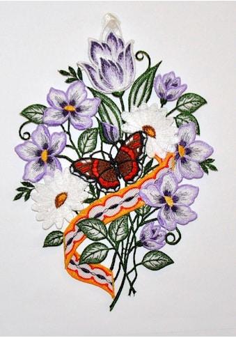 """Stickereien Plauen Fensterbild »Blumenband Fensterbild«, Fensterbild """"Blumenband"""" kaufen"""