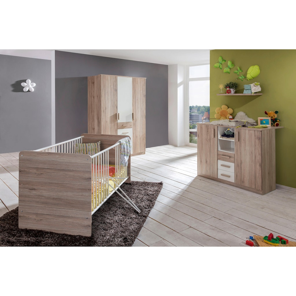 Babyzimmer-Komplettset »Bergamo«, (Set, 3 tlg.), Bett + Wickelkommode + Eckschrank
