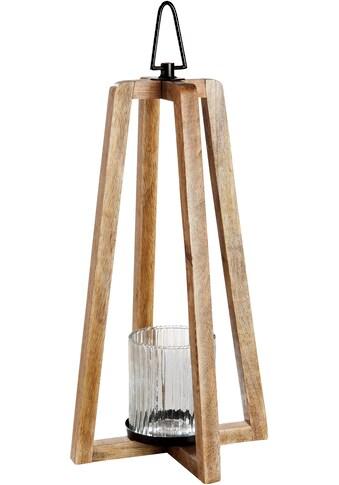 GILDE Laterne »Triangolo«, aus Holz mit Glas-Einsatz kaufen