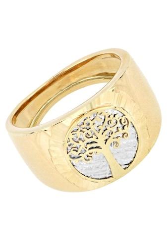 Firetti Goldring »Ringkopf mit Baum des Lebens, Hintergrund Baumstamm rhodiniert mit Diamantschnitten, Ringschiene stark gebördelt« kaufen