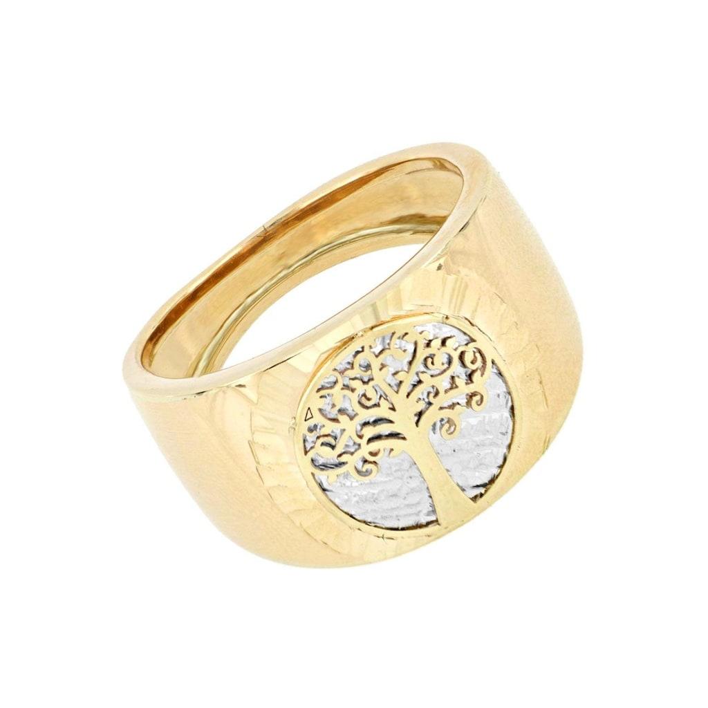 Firetti Goldring »Ringkopf mit Baum des Lebens, Hintergrund Baumstamm rhodiniert mit Diamantschnitten, Ringschiene stark gebördelt«