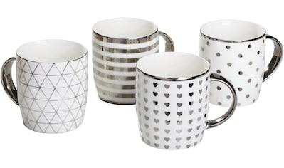 Retsch Arzberg Becher »Metallic Silber«, (Set, 4 tlg.), Porzellan mit Silber-/Metallic-Volldekoration kaufen