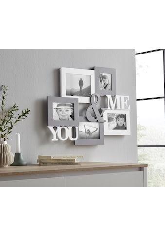 my home Bilderrahmen Collage »YOU & ME«, Fotorahmen, mit Schriftzug, weiß/grau kaufen