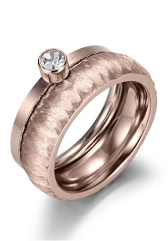 Firetti Ring-Set »2,0 mm, 4,0 mm, glänzend, matt, gekratzt, strukturiert, roségoldfarben IP-beschichtet«, (Set, 2 tlg.), mit Zirkonia kaufen