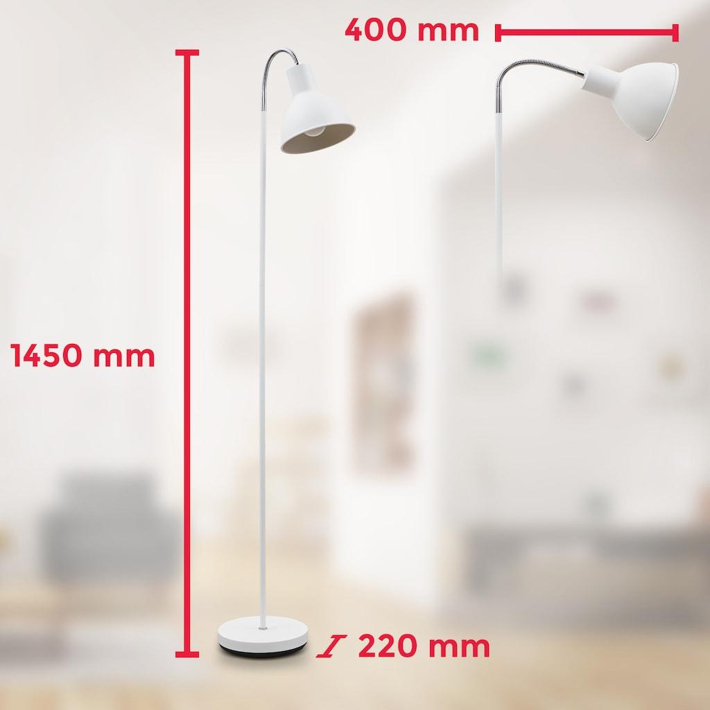 B.K.Licht LED Stehlampe, E27, Warmweiß, Stehleuchte Industrial Design Stand-Leuchte schwenkbar Metall E27 weiß