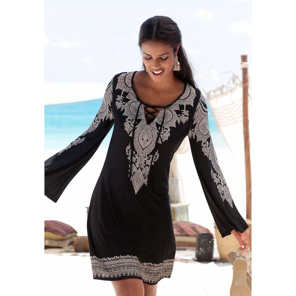 LASCANA Jerseykleid, mit Bordürendruck