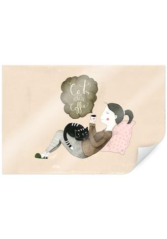 Wall-Art Poster »Loske Katze und Kaffee Liebe«, Person, (1 St.), Poster, Wandbild,... kaufen