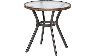 MERXX Gartentisch »Ravenna«, Polyrattan, Ø 70 cm, braun kaufen