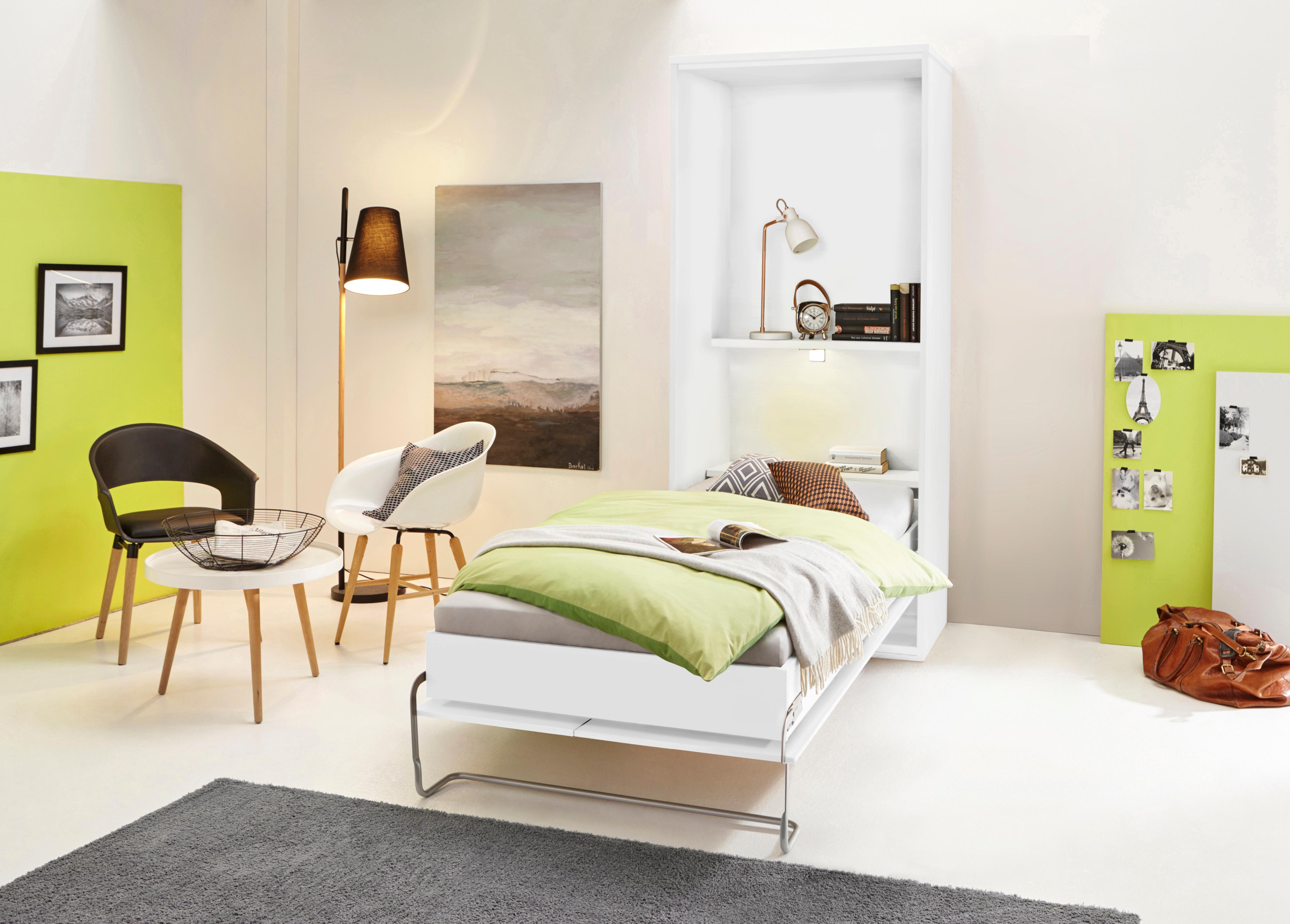 Klappbett mit Regal und LED-Beleuchtung | Schlafzimmer > Betten > Schrankbetten | Weiß | Federn | QUELLE