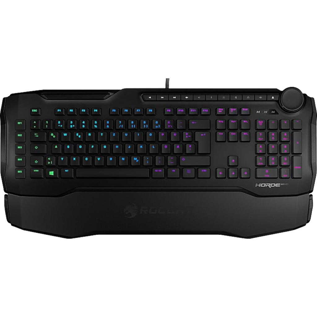 ROCCAT Gaming-Tastatur »Horde AIMO«, (Makrotasten-ergonomische Form-Handgelenkauflage), Anti-Ghosting-Nummernblock