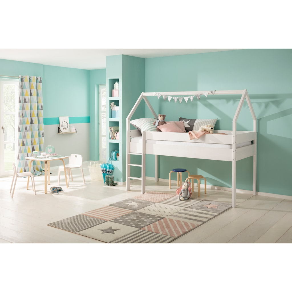 Lüttenhütt Kinderbett »Alpi«, aus massivem Kiefernholz, in einer Haus-Optik Form, Liegefläche 90x200 cm
