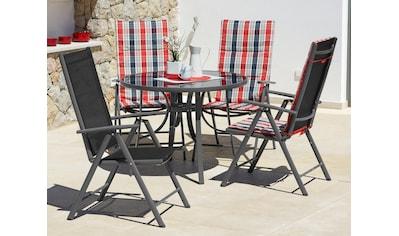 KONIFERA Gartenmöbelset »Oslo«, 9 - tlg., 4 Hochlehner, Tisch ø 100 cm, Alu/Textil kaufen