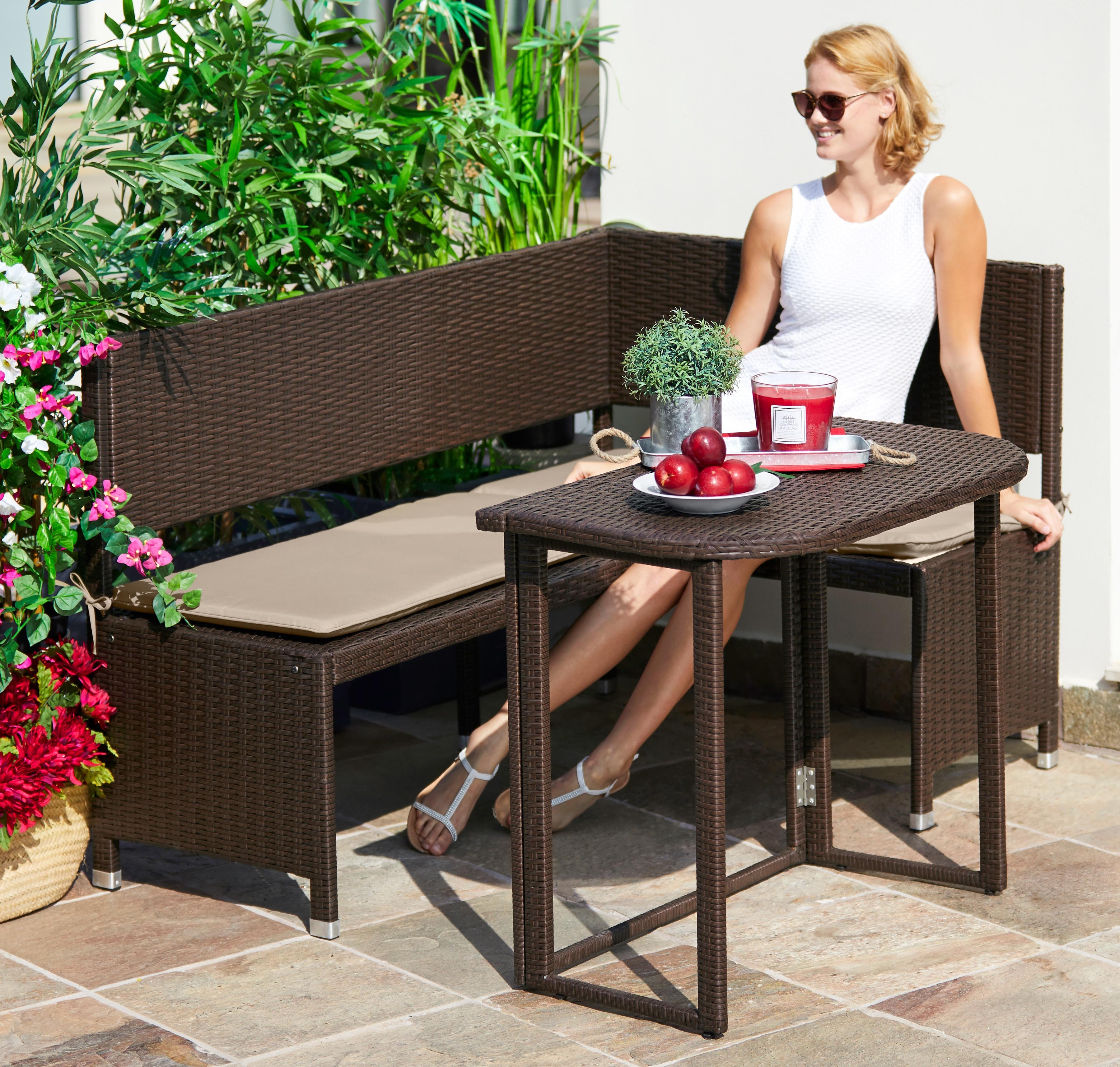 Wunderbar Gartenmöbelset »Rattan«, 4 Tlg., Eckbank, Tisch 90x50 Cm, Polyrattan