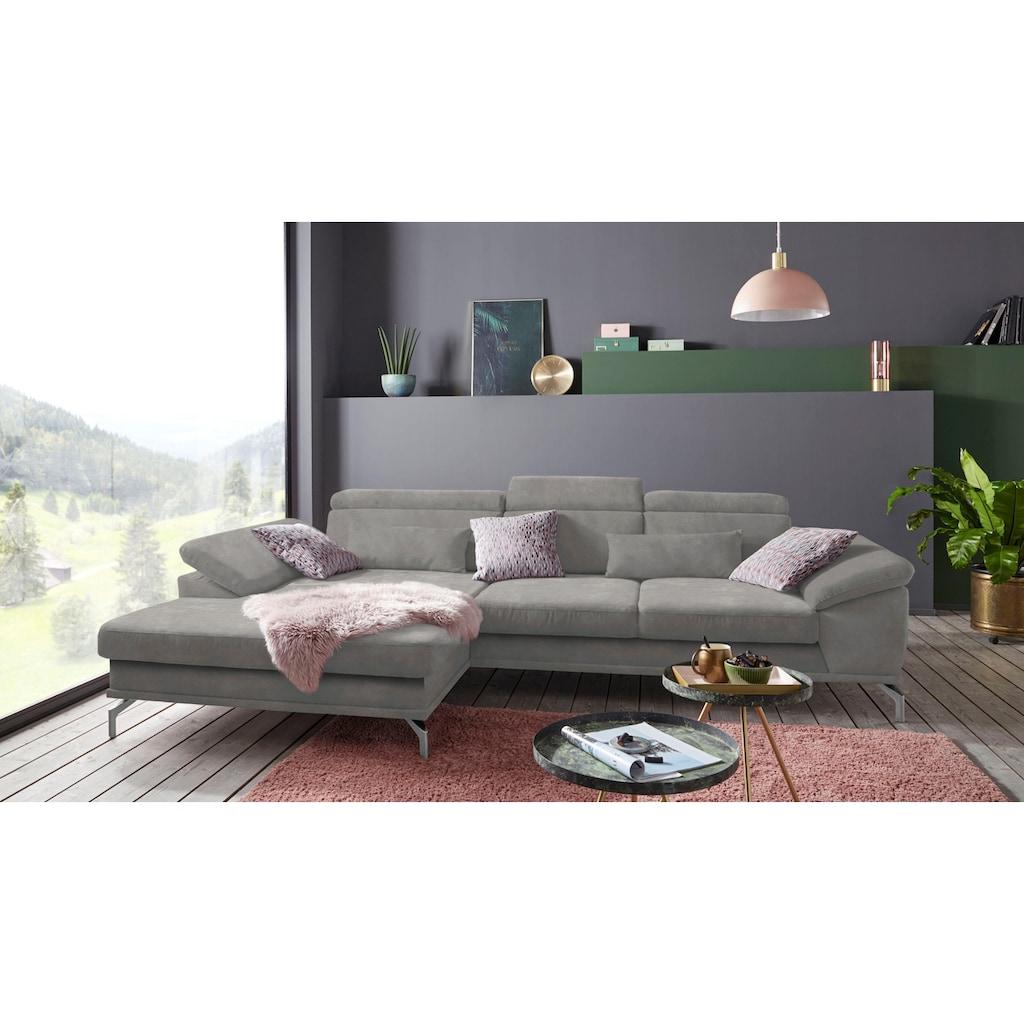 sit&more Ecksofa, inklusive Sitztiefenverstellung, wahlweise mit Kopf- und Armteilverstellung, inklusive Federkern, frei im Raum stellbar