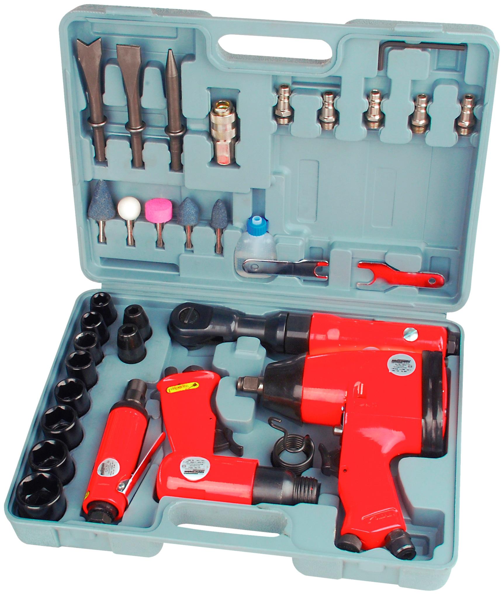 BRUEDER MANNESMANN WERKZEUGE Druckluft-Set, 33-tlg., inkl. Koffer | Baumarkt > Werkzeug > Werkzeug-Sets | Rot | BRUEDER MANNESMANN WERKZEUGE