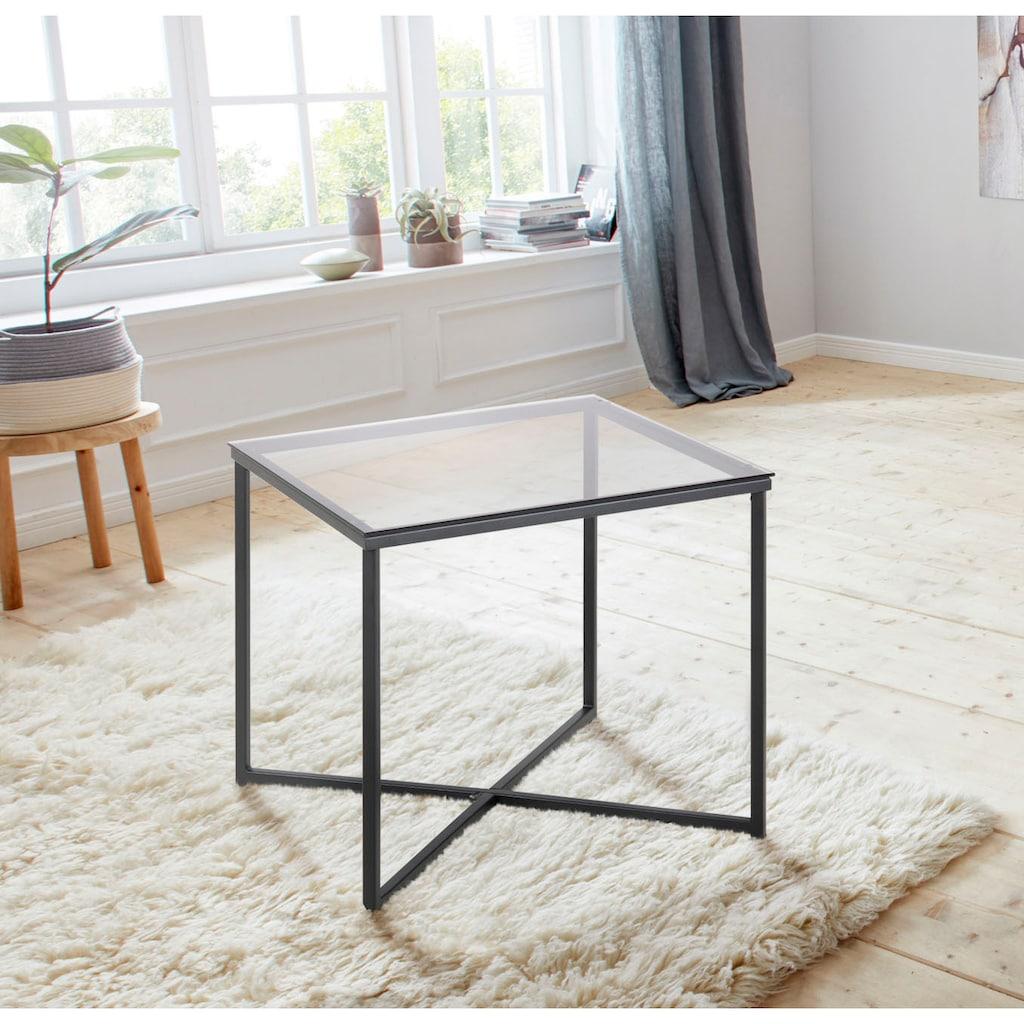 andas Couchtisch »Conrad«, mit schönem, schwarzen Metallgestell und eckiger Glastischplatte, Breite 50 cm