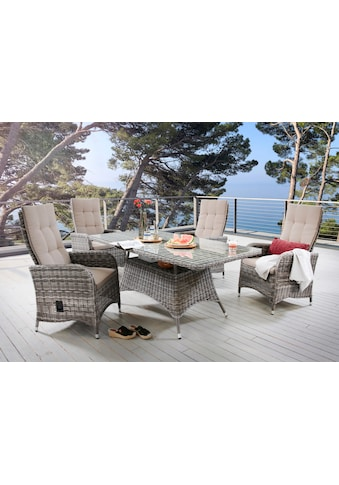 DESTINY Essgruppe »Bahia«, 9 - tlg., 4 Stühle, Tisch 165x90 cm, Alu/Polyrattan kaufen