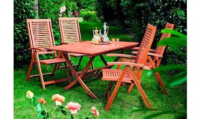 Merxx 5 - tlg. Gartenmöbelset »Cordoba«, 4 Sessel, Tisch 110 - 160 cm,Eukalyptus kaufen