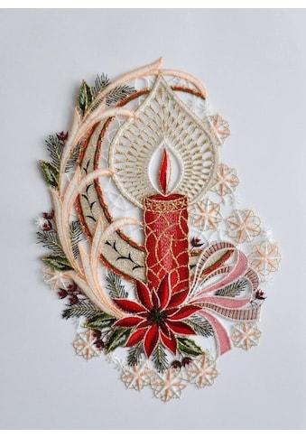 Stickereien Plauen Fensterbild »Fensterbild Kerze«, Echte Plauener Spitze kaufen