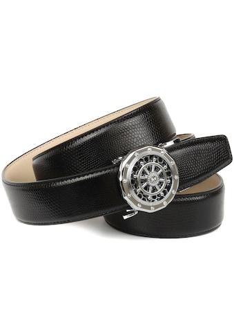 Anthoni Crown Ledergürtel, Schließe mit funkelnden Glitzersteinen besetzt kaufen