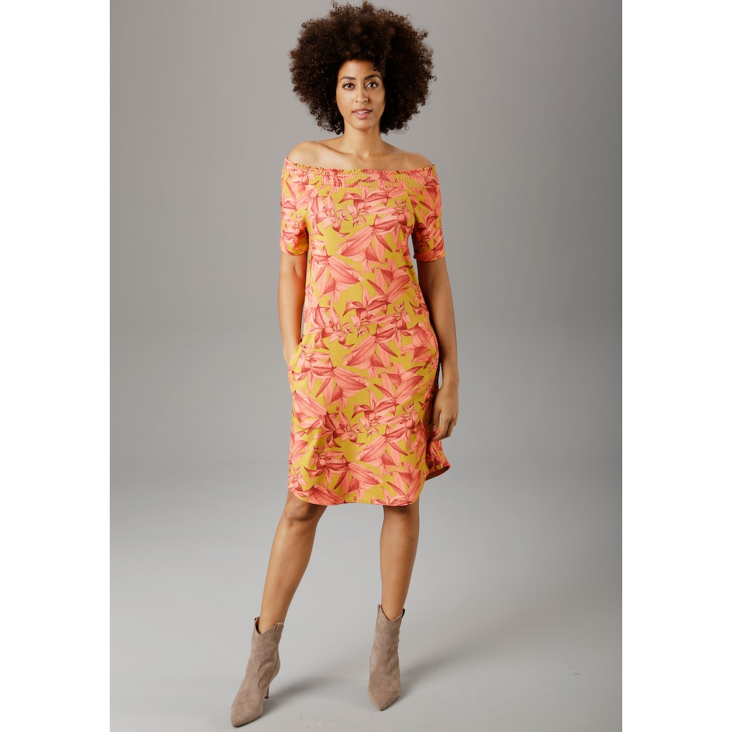 Aniston SELECTED Sommerkleid, mit Carmen-Ausschnitt - NEUE KOLLEKTION