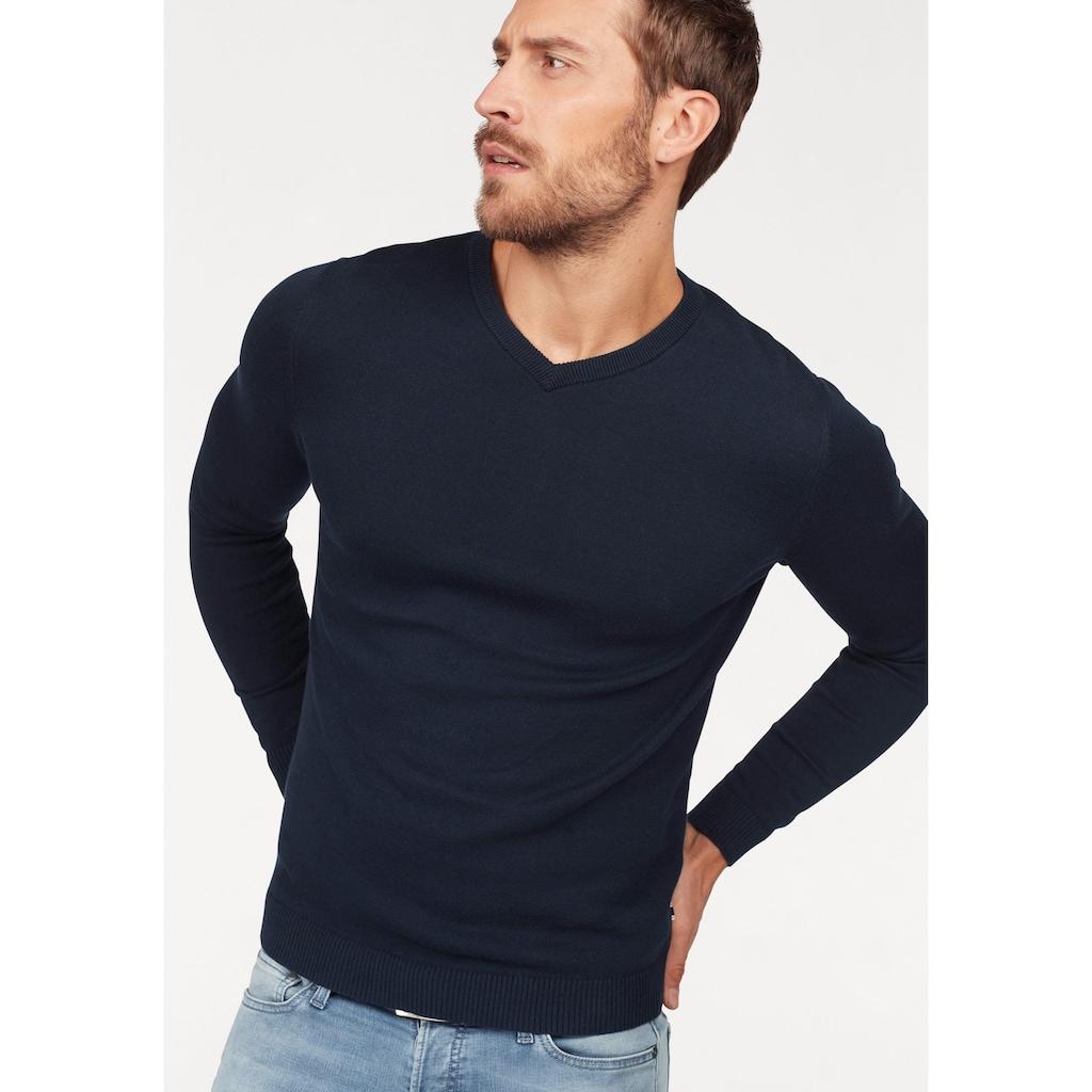Jack & Jones V-Ausschnitt-Pullover »JJEBASIC KNIT V-NECK«