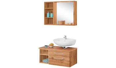 HELD MÖBEL Badmöbel-Set »Davos«, (3 tlg.), Spiegel inklusive Beleuchtung, Regal und Waschplatz kaufen