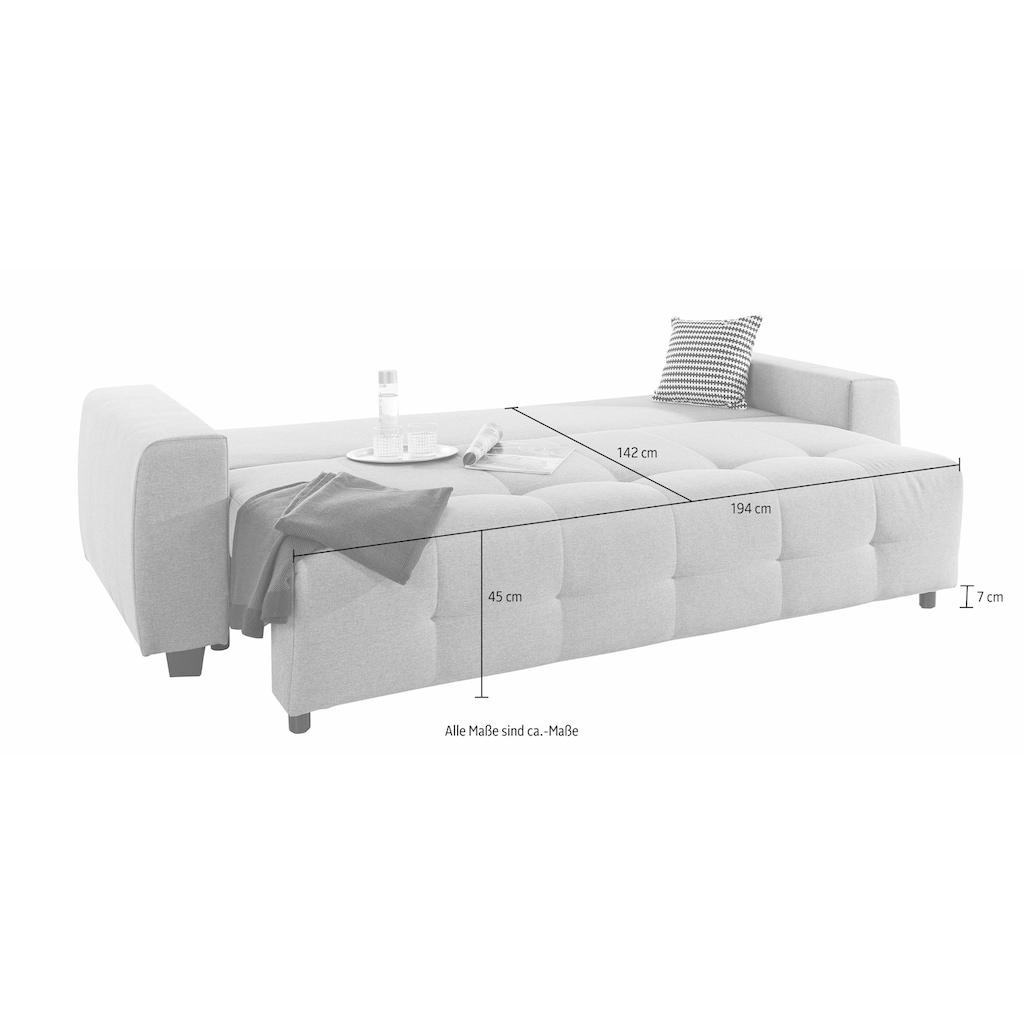 COLLECTION AB Schlafsofa, mit Bettfunktion und Bettkasten, inkl. losen Rücken- und Zierkissen, frei im Raum stellbar