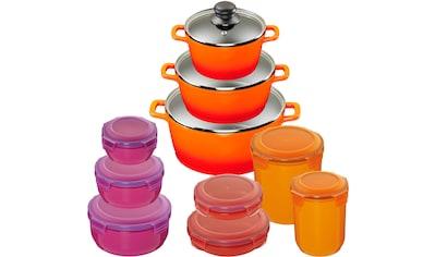 KING Topf - Set »Orange« (Set, 10 - tlg., 3 Töpfe, 3 Deckel, 7 Dosen) kaufen