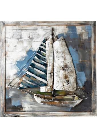 GILDE GALLERY Metallbild »Kunstobjekt Admiral´s Cup«, Boote & Schiffe, (1 St.), handgearbeitetes 3D-Bild, 80x80 cm, aus Metall, Motiv Segelboot, maritim, Wohnzimmer kaufen