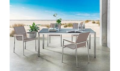 DESTINY Essgruppe »Altos - Sao Paulo«, 5 - tlg., 4 Stühle, Tisch 210x100 cm, Edelstahl/Glaskeramik kaufen