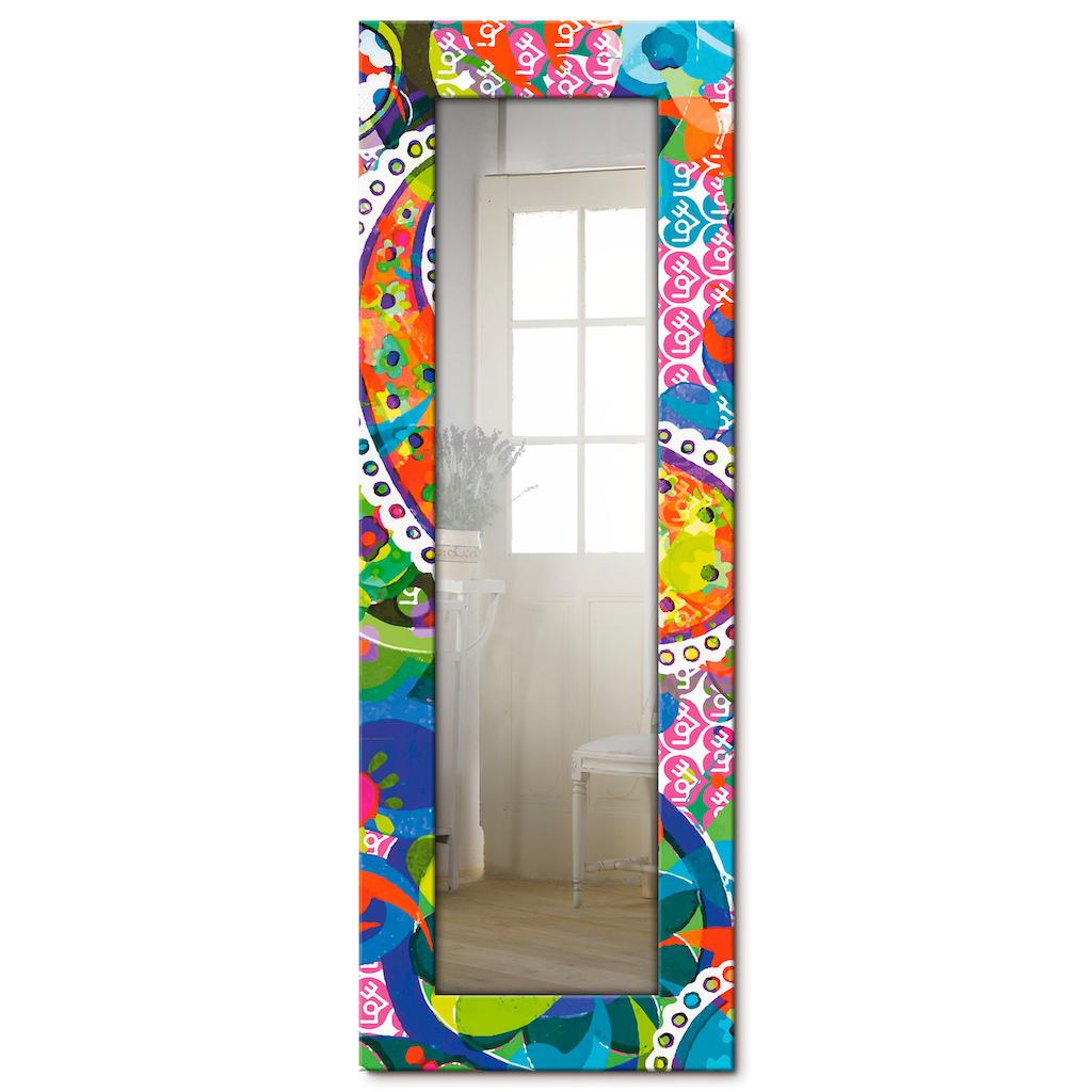 Artland Wandspiegel »Buntes Paisley«, gerahmter Ganzkörperspiegel mit Motivrahmen, geeignet für kleinen, schmalen Flur, Flurspiegel, Mirror Spiegel gerahmt zum Aufhängen