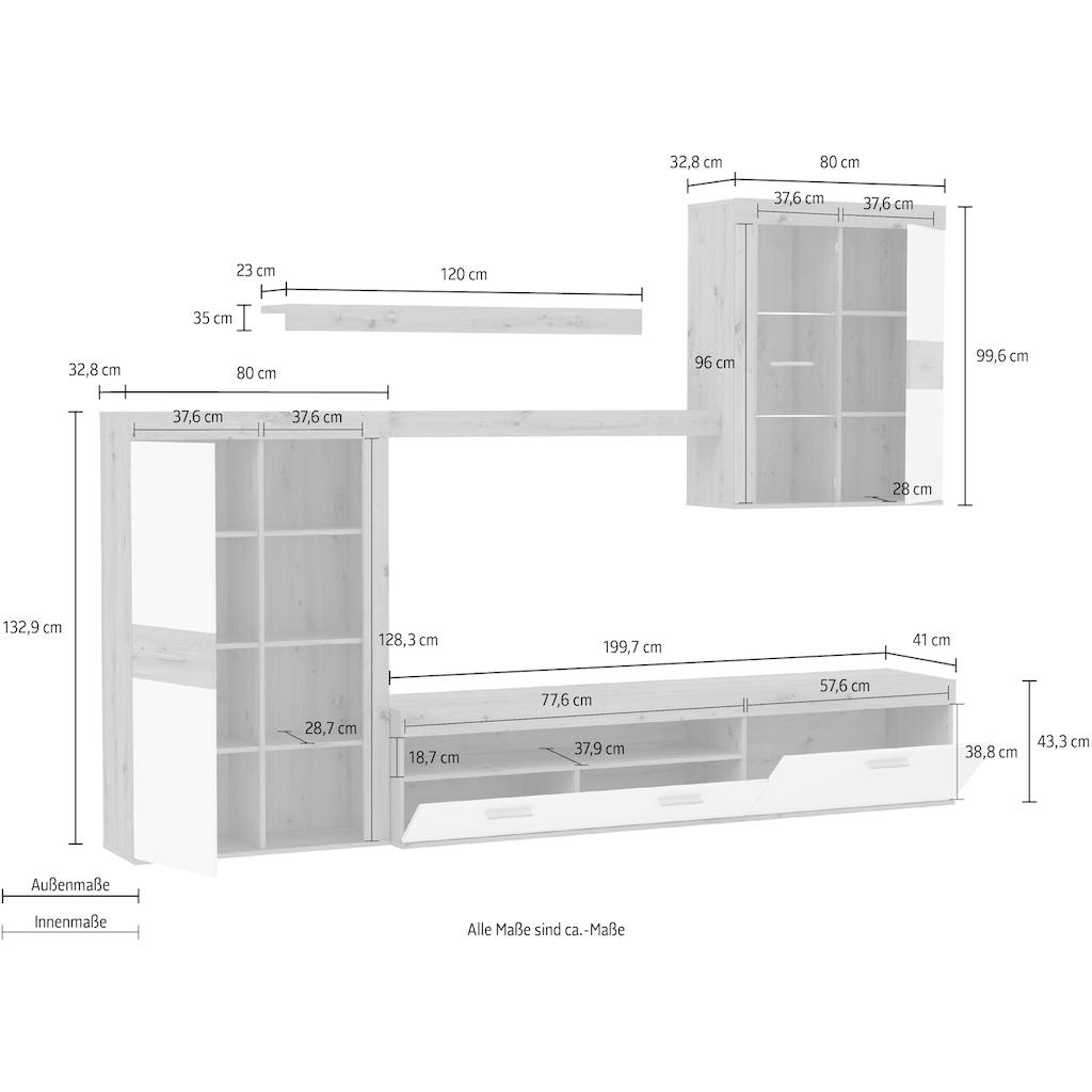 FORTE Wohnwand, (Set, 4 St.), inkl. Beleuchtung, Front/Korpus matt