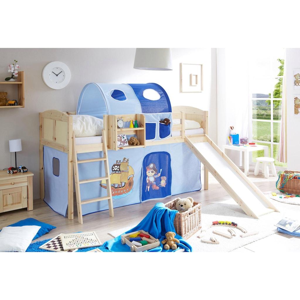Ticaa Jugendzimmer-Set »Ekki«, mit Rutsche und Textil-Set, Kiefer massiv natur lackiert
