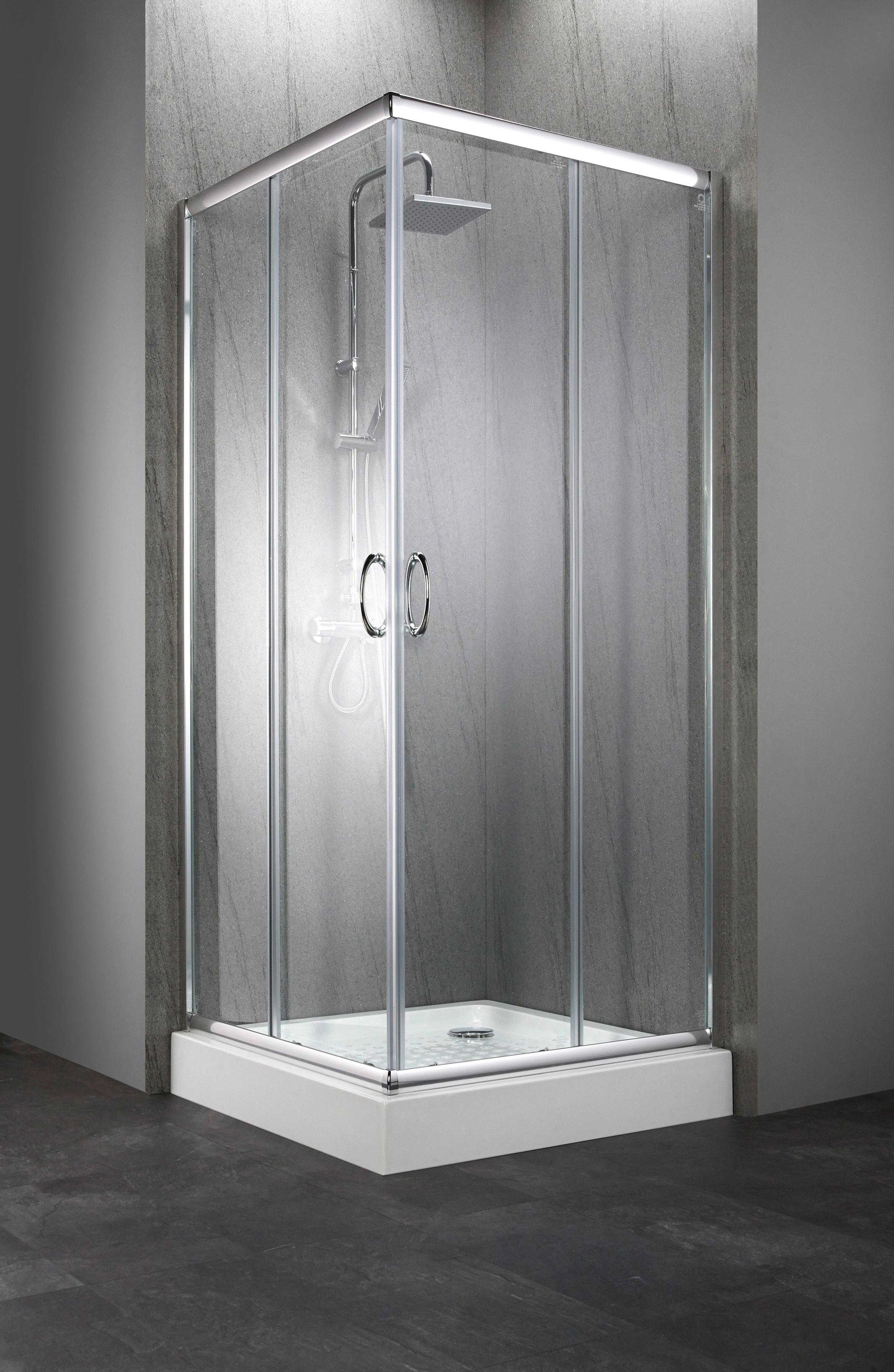 Sparset: Eckdusche »Summer«, Eckeinstieg, 80 x 80 cm, inkl. Duschwanne | Bad > Duschen > Duschwannen | Silberfarben | QUELLE