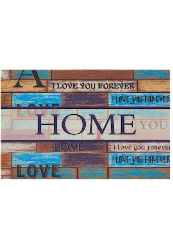 DELAVITA Fußmatte »Home love«, rechteckig, 6 mm Höhe, Schmutzmatte, mit Spruch, In-... kaufen