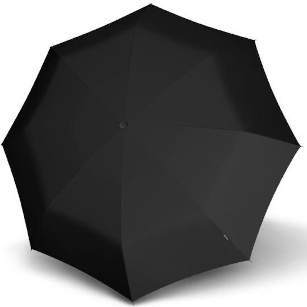 Knirps® Taschenregenschirm »T.260 Medium Duomatic Rundhakengriff, uni black«, mit Rundhakengriff