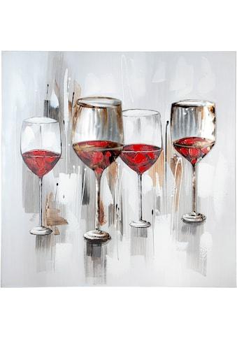 GILDE Leinwandbild »Gemälde Weinprobe«, Wein, (1 St.), handgemalt, 100x100 cm, mit... kaufen