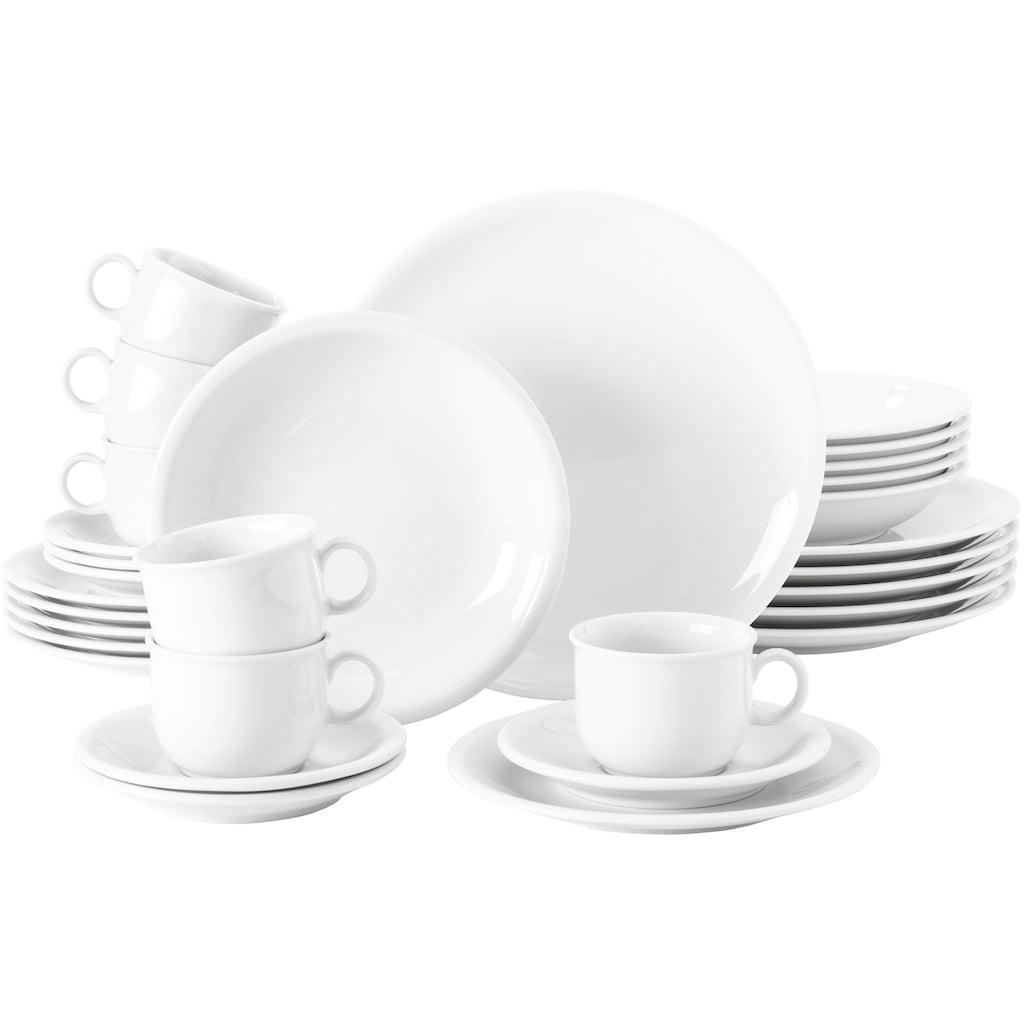 Seltmann Weiden Kombiservice »Compact«, (Set, 30 tlg., 6 Suppenteller 23 cm 6 Speiseteller 25 cm 6 Kaffee-Obertassen 0,21 l 6 Kaffee-Untertassen 14,5 cm 6 Frühstücksteller 20 cm)