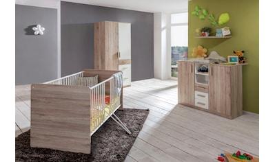 Babyzimmer-Komplettset »Bergamo«, (Set, 3 St.), Bett + Wickelkommode + 2 trg. Schrank kaufen