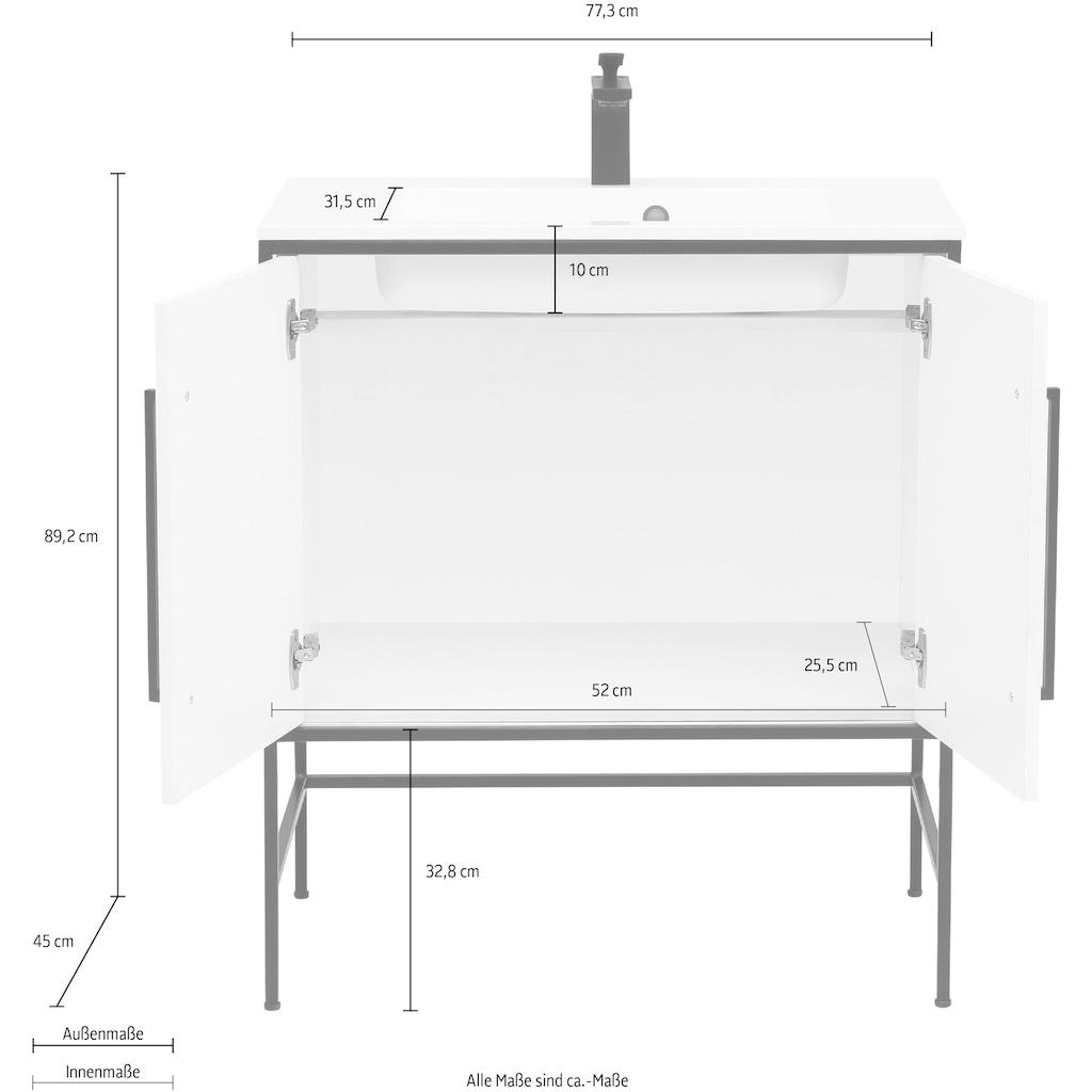 Schildmeyer Waschtisch »Moris«, mit Mineralgussbecken, Breite 77 cm