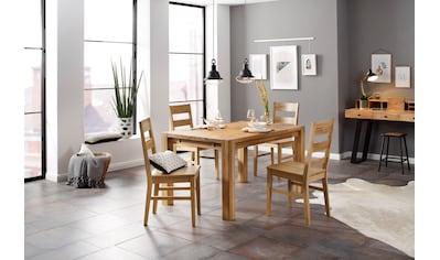 Home affaire Essgruppe »Nils 6« (Set, 5 - tlg Tisch 140/90 cm, 4 Stühle, Holzsitz) kaufen